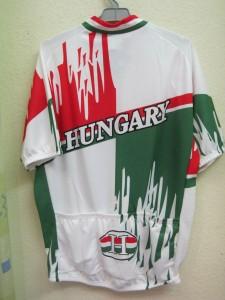 Hungary, rövid ujjú, nemzeti színű mez hátulról